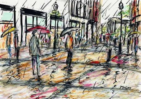Colourful fine art sketch of people walking in the rain at Grafton Street in Dublin Ireland.  The view is looking down Grafton Street with Trinity College in the distance.   Materials: Winsor and Newton permanent ink pens and acrylics on high quality, heavy weight paper.  Size: 29.7 x 21cm  One of a kind Artwork. Signed on the front  FREE SHIPPING WORLDWIDE