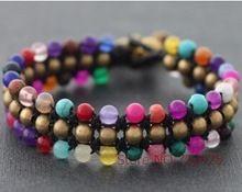 Candy Mix 3 Fila Braccialetto braccialetti Handmade intrecciata cavo della cera braccialetto stile tailandese campana di ottone chiusura bracciale(China (Mainland))