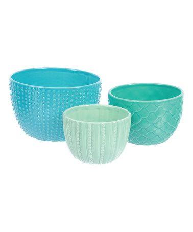 Turquoise, aqua, seaglass- sweet sea urchin & mermaid textured kitchen for serving? So cute. Ocean Textures Nesting Bowl Set