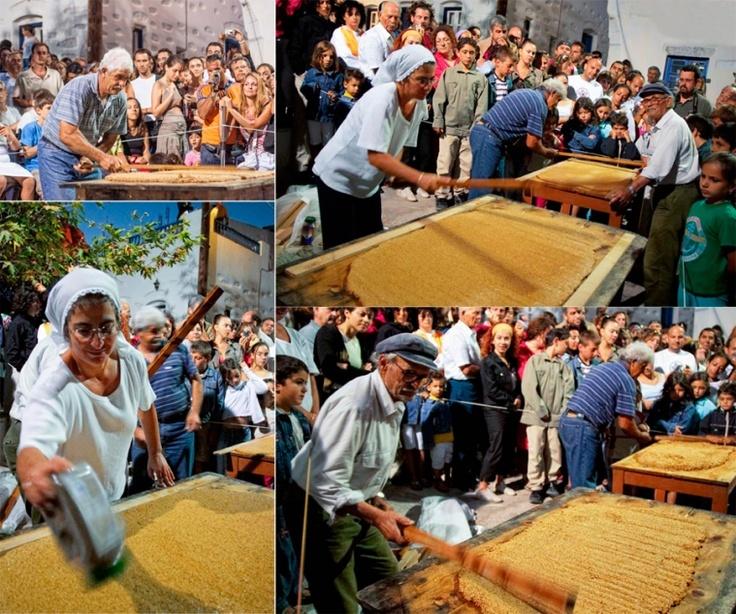 Pasteli preparation at the Chora of Amorgos
