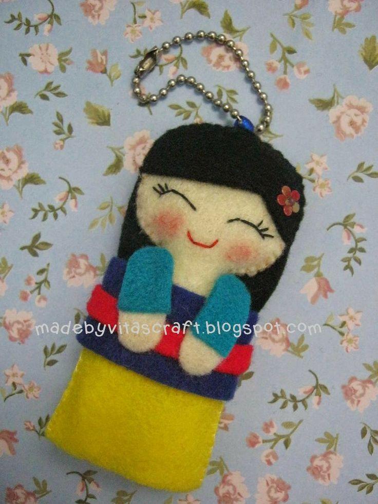 Mulan Disney Princess Felt Doll Keychain