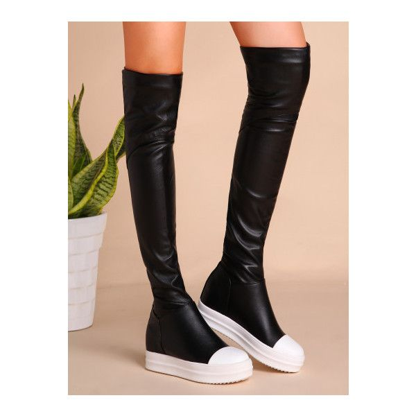 SheIn(sheinside) Black PU Cap Toe Flat Knee Boots ($49) ❤ liked on Polyvore featuring shoes, boots, black, black knee length boots, black knee boots, black boots, kohl boots and flat winter boots