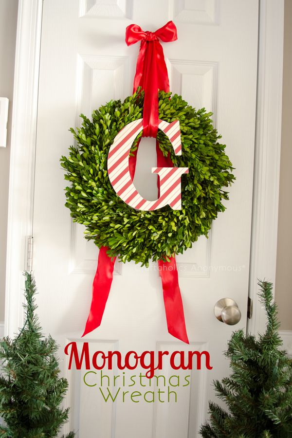 DIY Monogram Boxwood Christmas wreath.