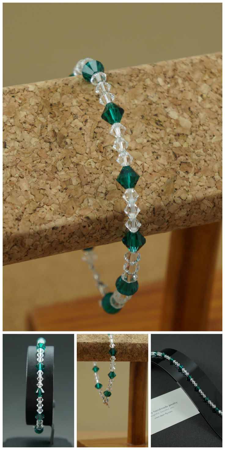 Handmade mairvay bracelet with emerald Swarovski crystals offset by Swarovski crystal accents and finished with a sterling silver toggle clasp. All dear-fly jewelry is made by hand, with love, in Cleveland, OH. Starting at $58.50, BUY NOW! http://www.dear-fly.com/products/mairvay-emeraldcrystal