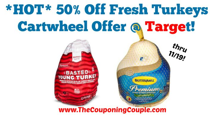 AWESOME THANKSGIVING SAVINGS!!! *HOT* 50% Off Fresh Turkeys Cartwheel Offer @ Target!  Click the link below to get all of the details ► http://www.thecouponingcouple.com/hot-50-off-fresh-turkeys-cartwheel-offer-target/ #Coupons #Couponing #CouponCommunity  Visit us at http://www.thecouponingcouple.com for more great posts!