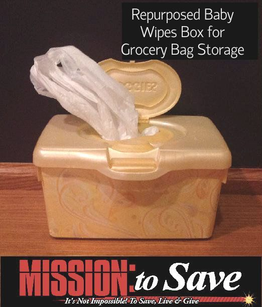 Repurpose that wipes container for thrifty organization.  Perfect for storing grocery bags.