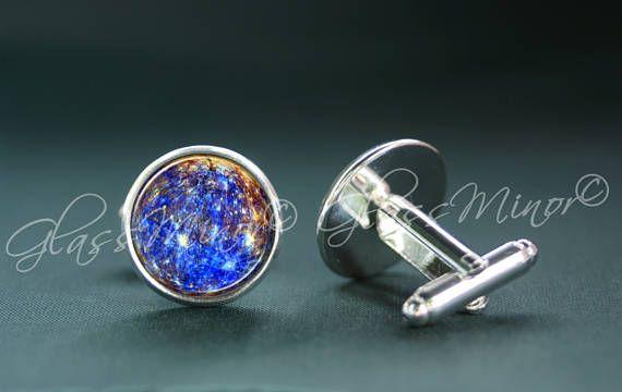 Mercury Cufflinks, Galaxy Groomsmen Usher Cufflinks Wedding Cufflinks Planet Cufflinks Universe Cosmos Solar System Outerspace Lovers Gift
