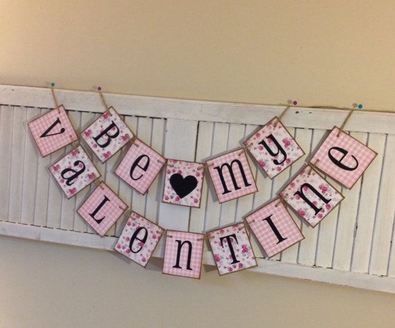Valentine Banner Bunting Garland Sign Shabby Chic by EncoreBanners