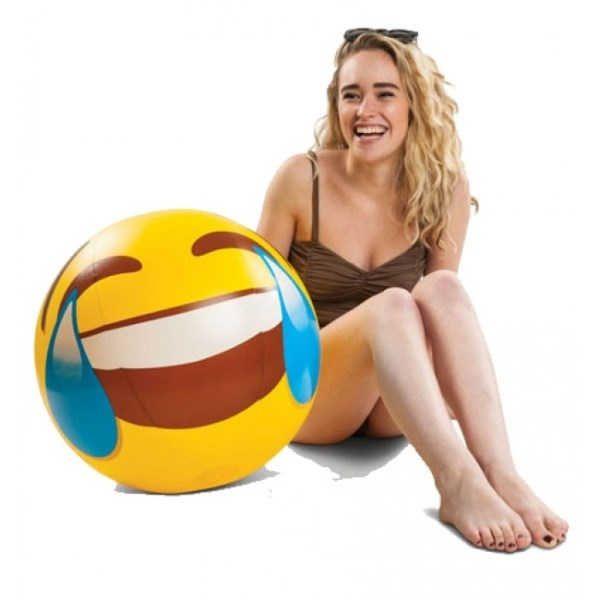 """nuevo modelo de esta super pelota gigante de playa, 50 cm de pura diversión. Esta vez el modelo emoji más divertido de todos los emoticonos,  y la verdad , tenemos problemas para bautizarlo porque nos salen mil nombres...""""me parto el eje"""" , """" me parto la caja"""" """" me parto de risa"""" , """" me troncho"""" """" me desencuaderno"""", """" ayyyy que me daaaa !!! ..en fin, que os damos a elegir XD ;) Apuesta por el regalo con mejor humor del mercado ;) Disponible en www.chehook.es"""