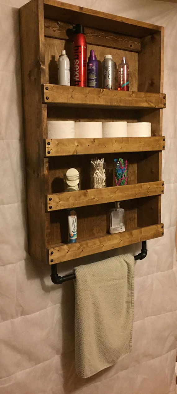 Rustic Bathroom organizer Rustic Bathroom Décor by BurgByDesign