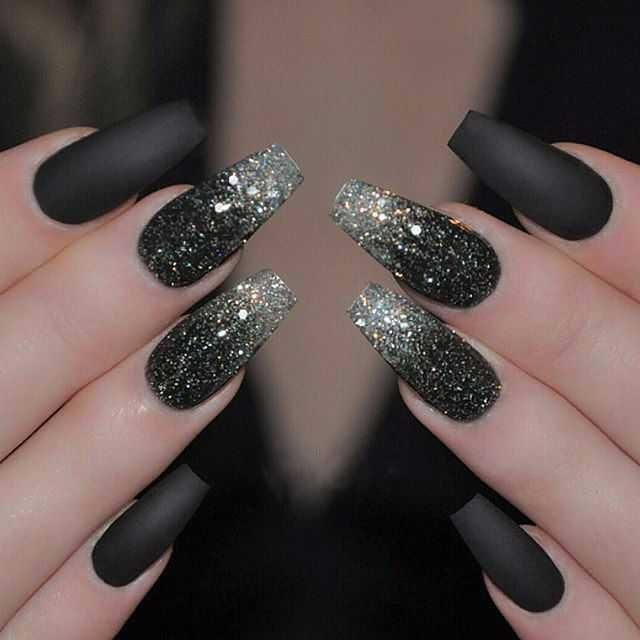 Gradient Ombre Glitter Nails White Grey To Black Ombre Nails Glitter Cute Nails Glitter Nails