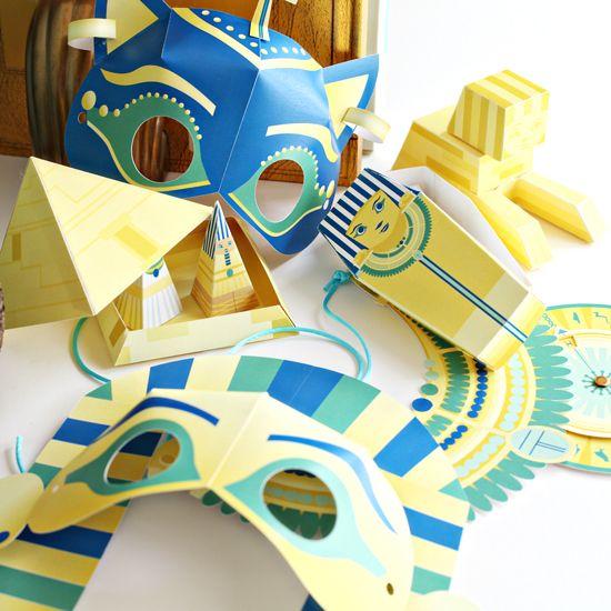 Artisanat égyptien pour les enfants - égyptiens artisanat imprimables papier avec Cricut - Masques égyptiens de bricolage pour enfants avec King Tut | Petit pour Big