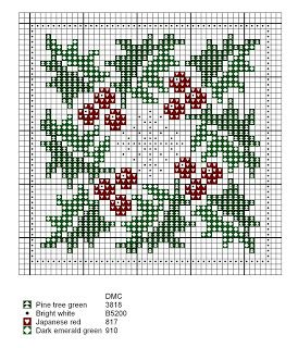 Free Cross Stitch Pattern - Holly and Snowflake                                                                                                                                                                                 More