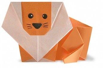 Un simpatico leone realizzato con la tecnica origami.