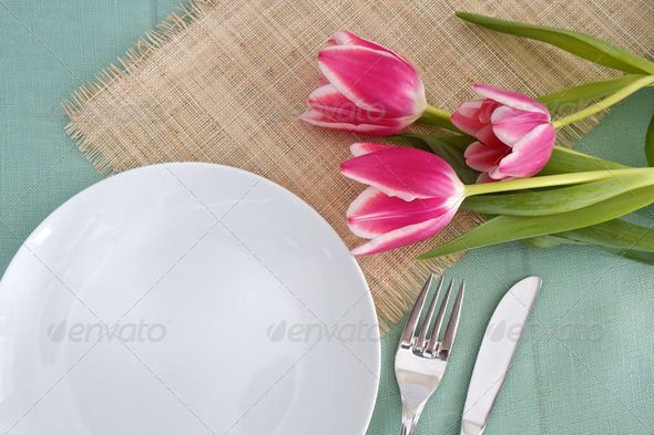 Realistic Graphic DOWNLOAD (.ai, .psd) :: http://jquery.re/pinterest-itmid-1006802280i.html ... Table place setting with flowers ...  crockery, cutlery, easter, festive, flowers, foliage, fork tulips, green, hessian, knife, linen, occasion, pink, place mat, place setting, plate, silverware, space for text, table setting  ... Realistic Photo Graphic Print Obejct Business Web Elements Illustration Design Templates ... DOWNLOAD :: http://jquery.re/pinterest-itmid-1006802280i.html