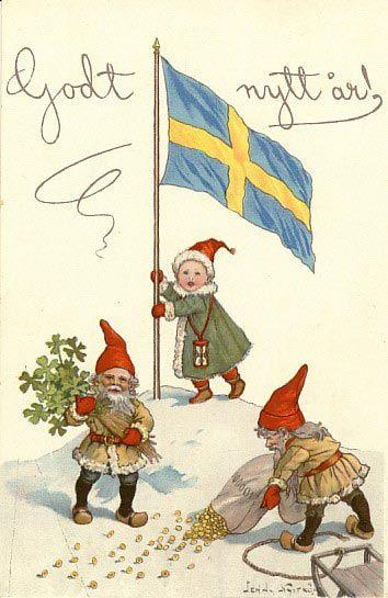 Gott Nytt År önskar Jenny Nyströms tomtar ca 1910