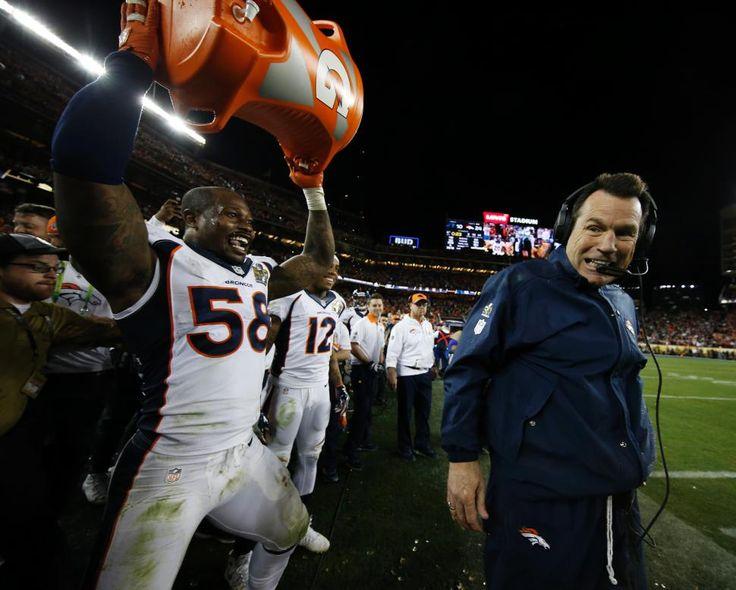 It's Super Bowl 50 MVP Von Miller hoisting the Gatorade jug after dousing Kubiak.