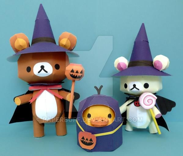 PAPERMAU: Halloween Special - Rilakkuma And Friends Paper ModelsIn Halloween Suits - by Kumarila
