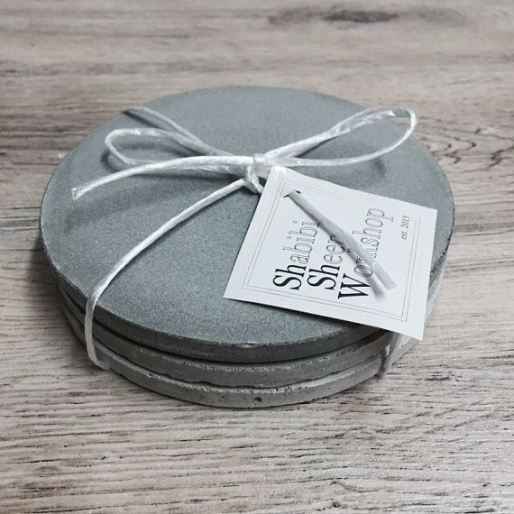 Set of 3 round concrete coasters / plates by ShabibiSheepWorkshop