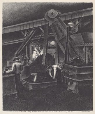 Minnetta Good (artist)  American, 1895 - 1946  Works Progress Administration/Federal Art Project-New York City (publisher)  Dry Sand Molding of Dredge Bucket Lip - Taylor Wharton Iron and Steel Company Est. 1742, c. 1935-1938 lithograph image: 366 x 305 mm sheet: 555 x 402 mm Reba and Dave Williams Collection, Gift of Reba and Dave Williams  2008.115.2176