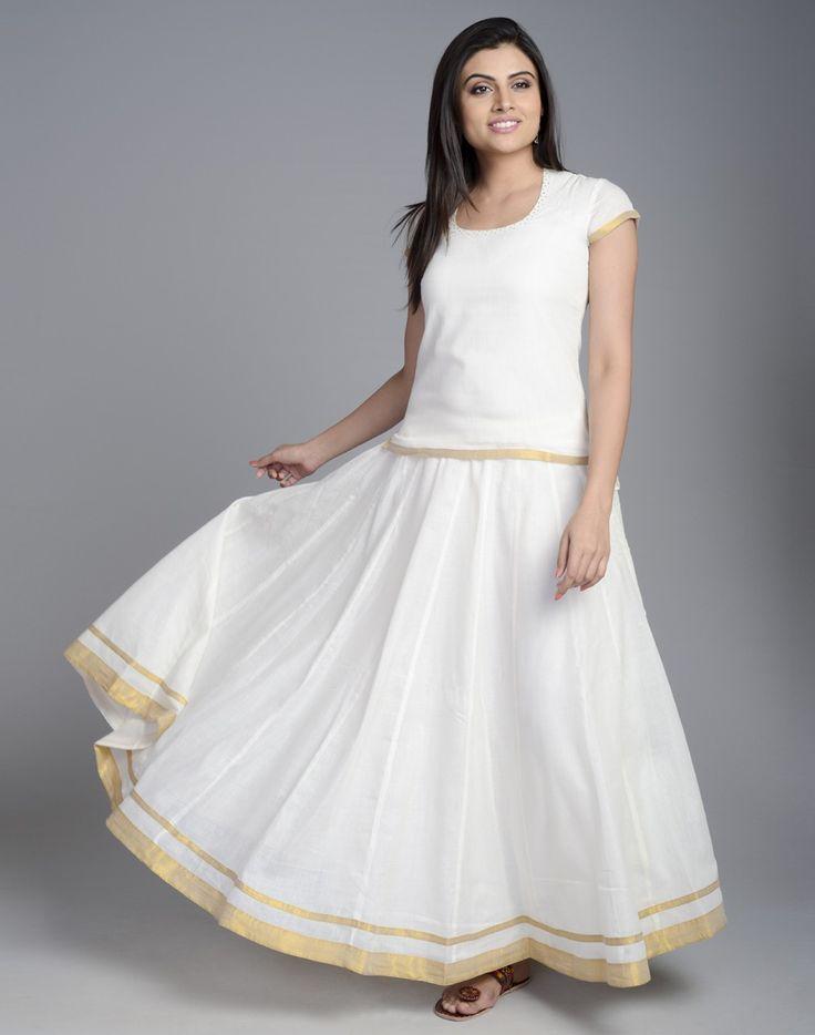 Cotton Mundu Kalidar Skirt Set