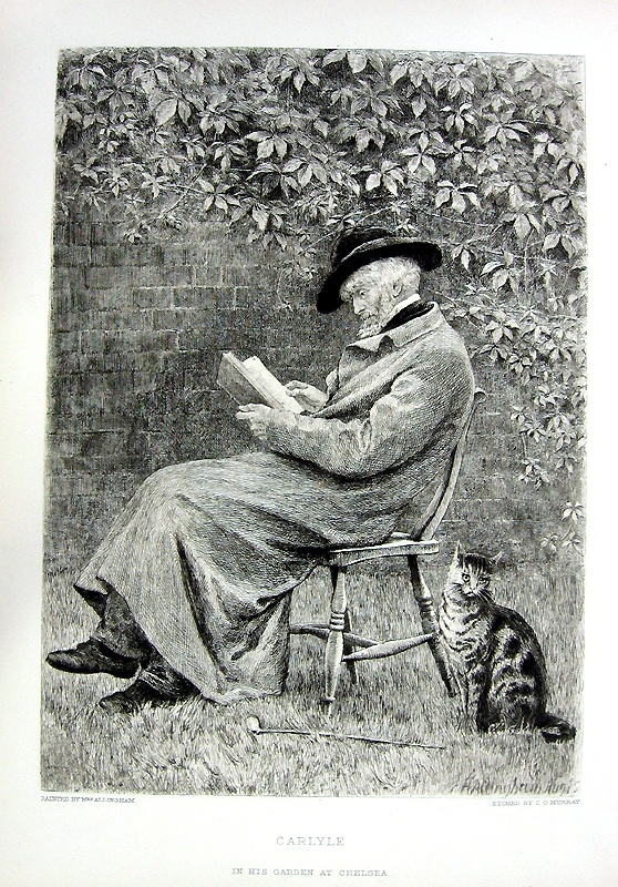 Carlyle in his Garden (after H Allingham), Etching, c1881. Charles Oliver Murray (b Denholm, Borders, 1842; d Croydon, 11 Dec 1924). British illustrator and etcher. He was a prolific and successful etcher both in working after other painters and as an original artist.: