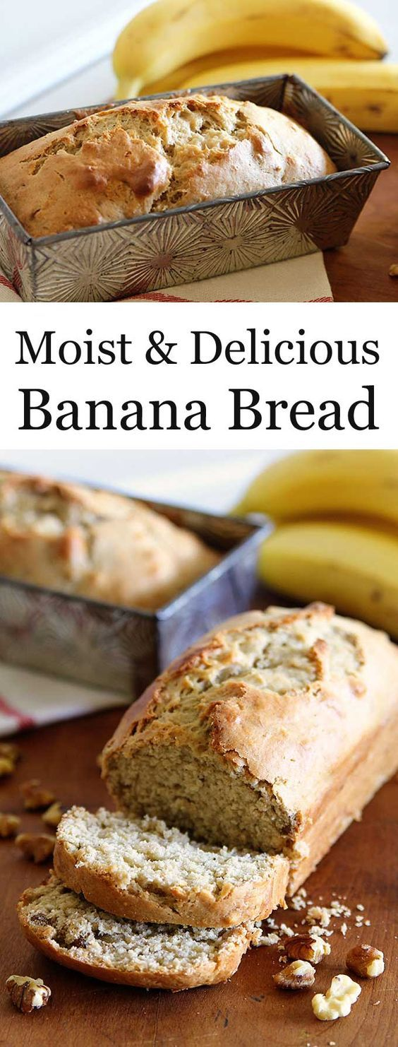 This moist and delicious banana bread recipe is an updated spin on a classic recipe. Using sour cream and brown sugar for a rich slice of banana goodness just like mom used to make, but better! #bananabread #desserts #dessertrecipes