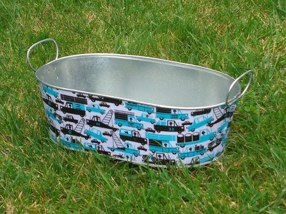 Use fabric and mod podge on tubs or buckets to create toy storage for cars, legos, etc.