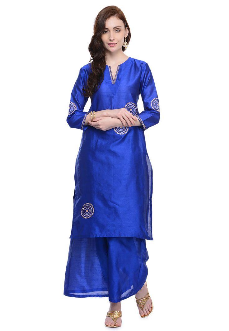 Buy Blue Art Dupion Silk Readymade Long Kurta with Palazzo online, work: Printed, color: Blue, usage: Festival, category: Indo Western, fabric: Dupion Silk, price: $65.00, item code: TZQ35, gender: women, brand: Utsav