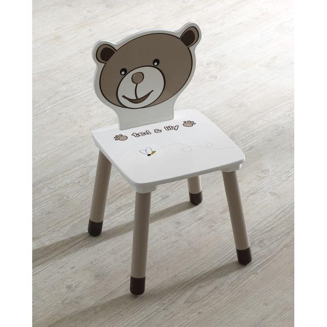 OURSON -  OURSON Chaise enfant, bois, chocolat et beige