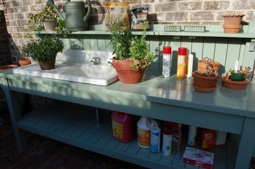 Potting bench. Doesn't need to be running water for the sink. maybe put a rain barrel on a high stand and be able to run it into the sink??