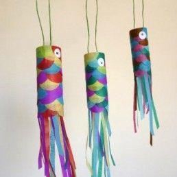 Les koinobori -> suspendu dans le vent à l'occasion de la fête des enfants en mai