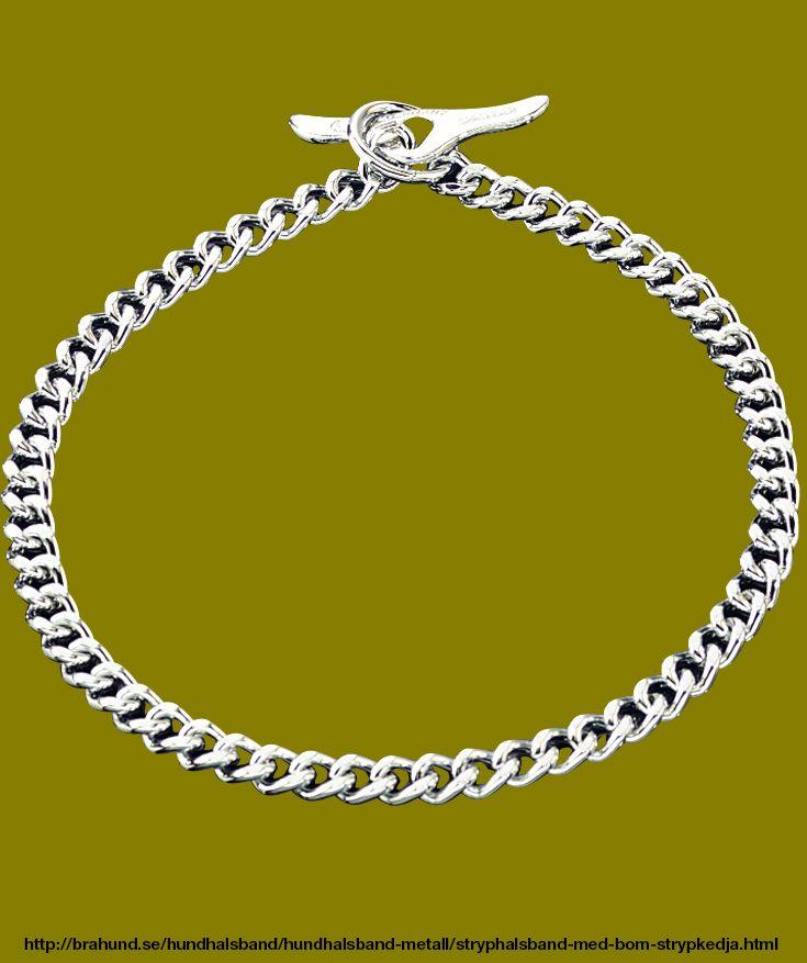 """Strypkedja med bom - ej träs över huvudet. Fabrikat Sprenger, Tyskland. Förkromad halskedja med platta och smala länkar. Halsband försedd med """"bom"""" som förs genom ringen sedan fästes kopplet i bommens hål. Så att halsbandet kan sättas på utan att trädas ö"""