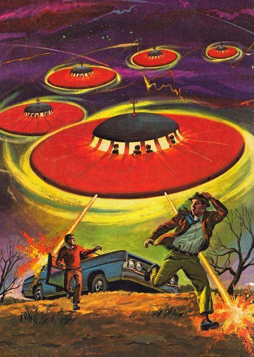 Vintage ufo comic art