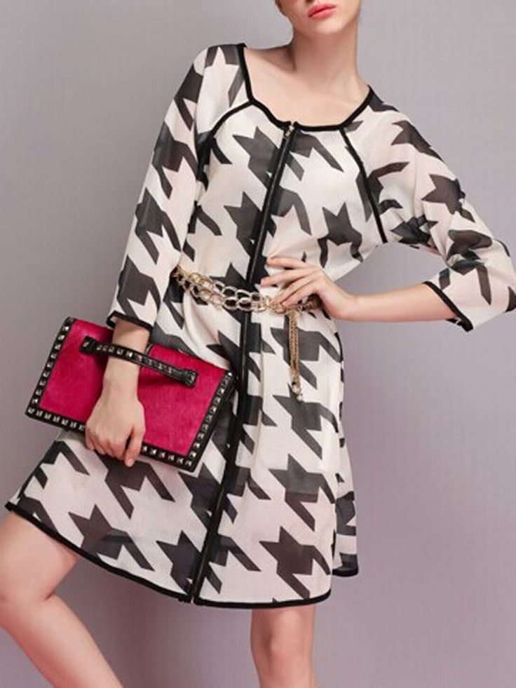 Chic and Stylish! Black and White Oversized  Houndstooth Longline Coat #Chic #Stylish #Black_and_White #Houndstooth #Fall #Winter #Fashion