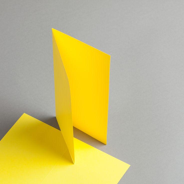 Karten Farbig DIN lang hochdoppelt Kanariengelb | 100 Stück