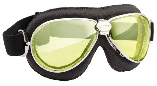 """NANNINI EYEWEAR """"TT"""" with black leather pad, chrome frame and yellow mirrored lenses. 1960's style motorcycle goggles made in Italy with soft real leather face pad, distortion-free lenses that are anti fog & anti-scratch, ventilation slots and an adjustable anti-slip strap."""