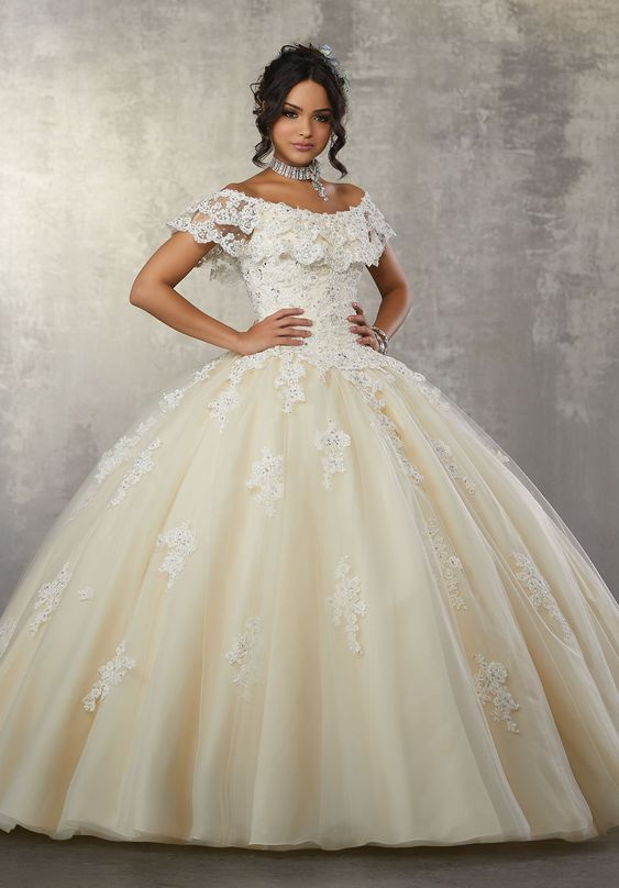 2aa5807ea4a Off Shoulder Lace Quinceanera Dress by Mori Lee Vizcaya 89168 in ...