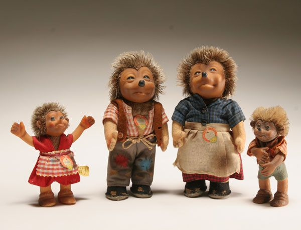 "Steiff - great stuffed animals  . . . the ""Mecki"" hedgehog family, one of my favorite childhood toys"