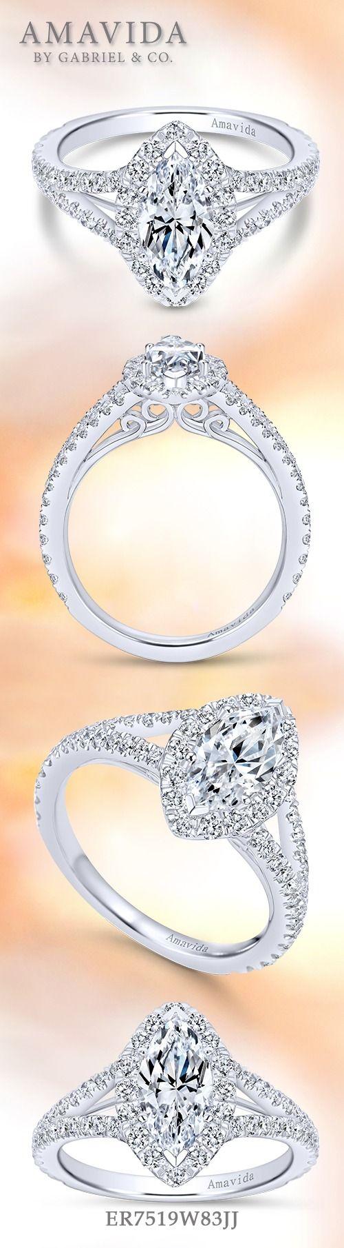 18k White Gold Marquise Halo  Er7519w83jj Halo Engagement Ringsbeautiful