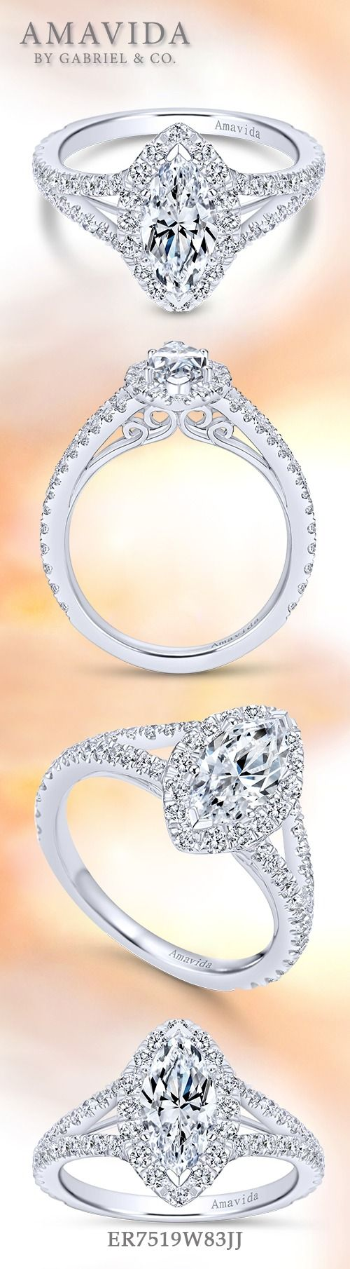 Gabriel & Co.-Voted #1 Most Preferred Fine Jewelry and Bridal Brand.  Beautiful 18k White Gold Marquise Halo  Engagement Ring.