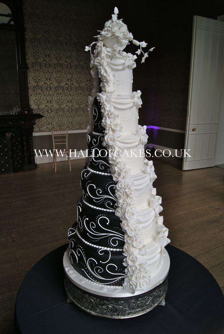 Amazing black and white split half and half Victorian wedding cake