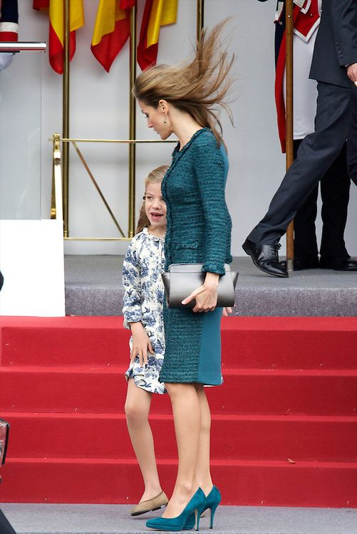Spanish Queen Letizia and her youngest daughter Infanta Sofia attended the Military Parade during the Spanish National Day on 12.10.2014 in Madrid, Spain