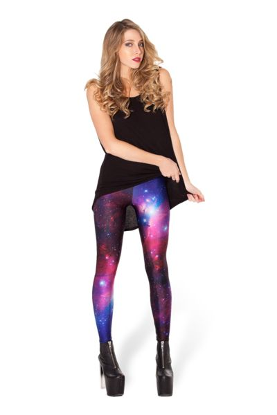 GALAXY PURPLE LEGGINGS  $75.00 AUD  The galaxy print is from a photo taken by NASA of an actual galaxy – very cool!  Courtesy NASA/JPL-Caltech. Horse Head Nebula. Composition: 83% Polyester Bright, 17% Spandex Washing: Please hand wash cool. Designer: James Lillis  Made in: Australia