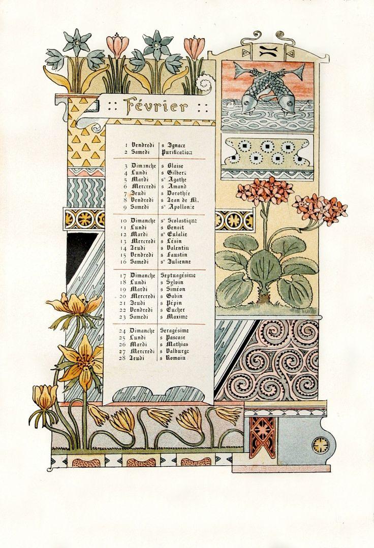 ¤ Calendrier 1886 Mois de Février - illustrations Eugène Grasset