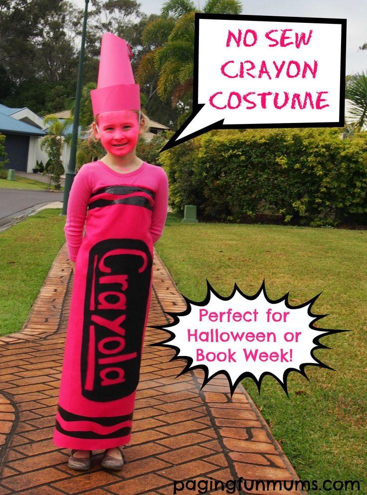 DIY No Sew Crayon Costume                                                                                                                                                                                 More