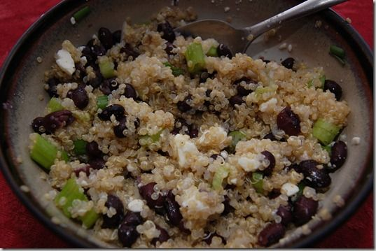 lime quinoa with black beans, scallions, and feta