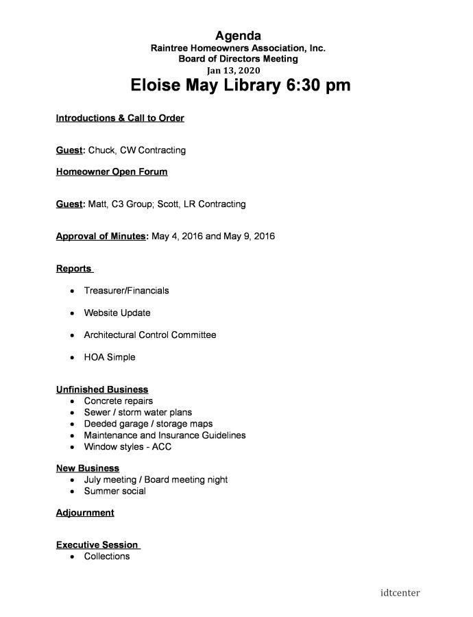 Homeowners Association Meeting Agenda Template Meeting Agenda