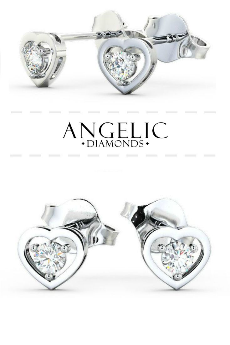 These stud earrings are adorable! They've got a round shaped diamond in the centre surrounded by a white gold heart-shaped design. Find them on the #AngelicDiamonds website. #Wedding #Engaged #Engagement #Diamond #Diamonds #WhiteGold #Earrings #Jewellery #Jewellery #DiamondJewellery #DiamondJewelry #DiamondEarrings #WhiteGoldJewellery #WhiteGoldJewelry #WhiteGoldEarrings #GoldEarrings #GoldJewellery