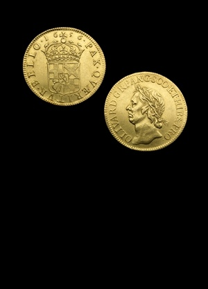 Oliver Cromwell, gold Broad of Twenty-Shillings 1656 by Thomas Simon